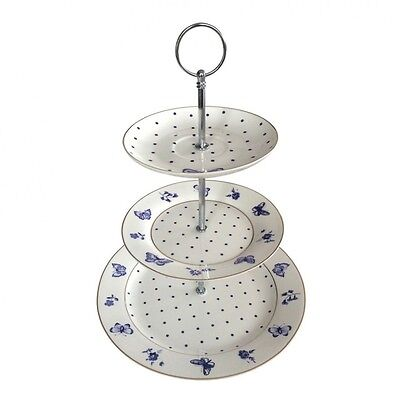 Bombay Duck Miss Peacock Butterfly Three Tier Cake Stand Blue and White