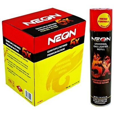 neon 5x ref Gas Refill Butane Universal Fluid Fuel Ultra Refined 300ml  10.14 Oz