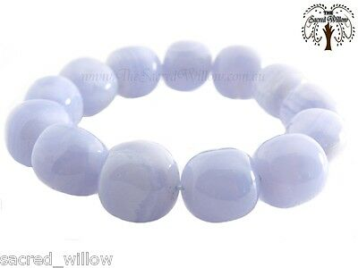 Blue Lace Agate Gemstone Nugget Stretch Bracelet - Tumbled Stone Natural Crystal