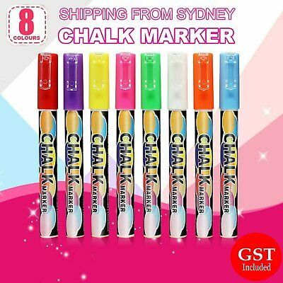 8x 3mm Liquid Chalk Marker Pens  2 Tips  LED Writing Board Glass Art Pen Window