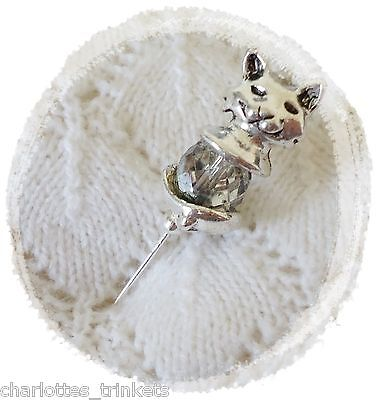Cat Grey AB  Czech Fire Polished Beads HatPin ~Lapel Hat Brooch Stick Pin