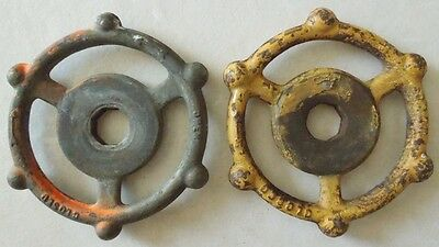 Two Vintage Steampunk Cast Iron Water Valve Handles (Lot 1)