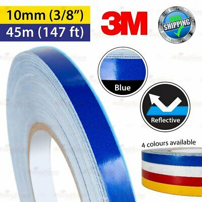 """3M BLUE Reflective Conspicuity PinStriping Vinyl Decal Tape 10mm 3/8"""" 45m 147ft"""