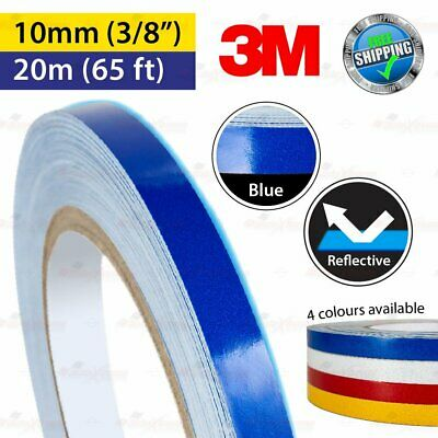 """3M BLUE Reflective Conspicuity PinStriping Vinyl Decal Tape 10mm 3/8"""" 20m 65ft"""