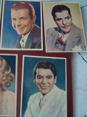 4 Vintage Color Picture Cards Of Hollywood Actors From England 1930'S Rare .