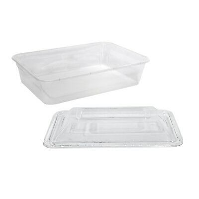 50x Clear Plastic Container w Dome Lid 500mL Rectangle Disposable Chinese NEW