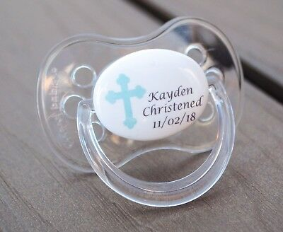 Personalised Dummy Pacifier Soother, All Teats, Sizes & Colours, Christening Boy