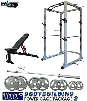Power Rack / Power Cage 100KG Package with Dip Bars & Pull Up Bar & Olympic Bar
