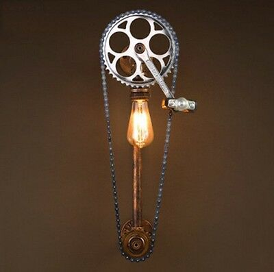 Rerto Vintage Industrial Loft Bicycle Wheel Pipe Wall Lamp Bar Sconces Light