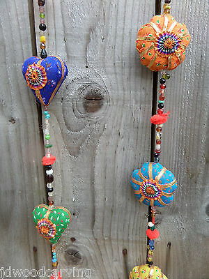 FairTrade Hand Made Indian Love Hearts Flower String Wind Chime Windchime Mobile