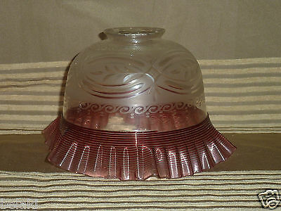 Vintage Victorian Fine Cut Ruffled Art Glass Lamp Shade Top Light Chandelier