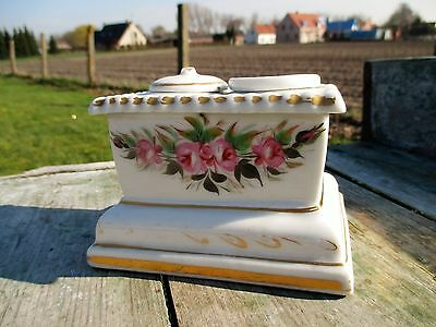 Gorgeous Antique French Porcelaine de Paris Inkwell Authentic 18th 19th Century