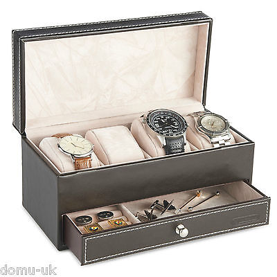 VonHaus Brown Faux Leather Watch and Cufflink box for 4 Watches or Jewellery