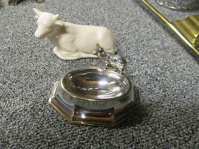 Vintage Silver Plated Salt Dish Condiment Server with Little Cow + Pot Cow