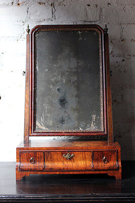Antique Fine George II Period Figured Walnut Three-Drawer Dressing Mirror c.1730