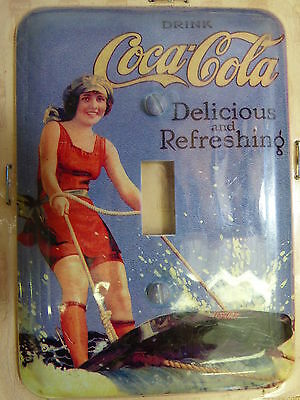 COKE COCA-COLA vintage girl look metal light switch plate cover made in USA A21