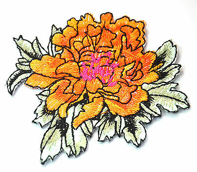 ORANGE FLOWER BLOOM CUTE  Embroidered Iron Sew On Cloth Patch Badge  APPLIQUE