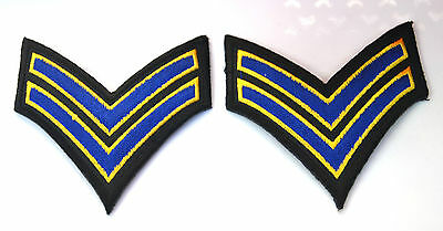 2X STRIPES NAVY BLUE ARMY MILITARY Embroidered Iron Sew On Cloth Patch Badge