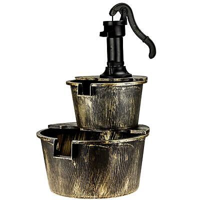 2 Tier Garden Barrel Pump Water Fountain Cascade Outdoor Patio Deck Feature