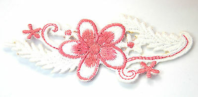 PINK FLOWERS WHITE LEAVES Embroidered Iron Sew On Cloth Patch Badge  APPLIQUE