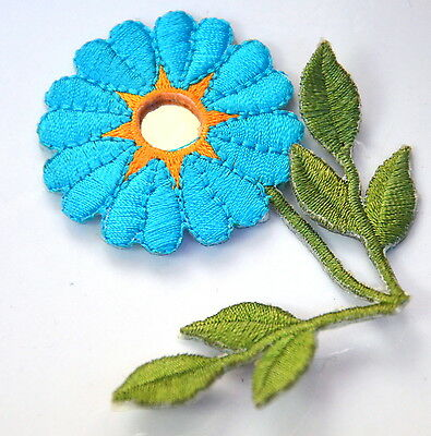 TURQUOISE BLUE FLOWER Embroidered Iron Sew On Cloth Patch Badge  APPLIQUE