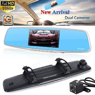 HD 1080P 4.3'' Dual Lens Car DVR Rear View Mirror Dash Cam Video Camera Recorder