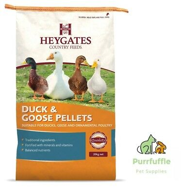 20KG HEYGATES DUCK & GOOSE PELLETS Waterfowl & Ornamental Poultry Food Feed