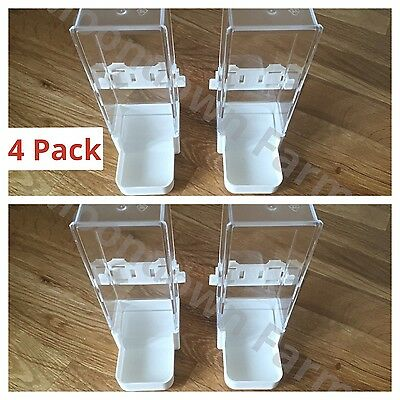 4 x Cage Feeder / Water Drinker with Clip For Aviary Parrot, Budgies, Cockatiel