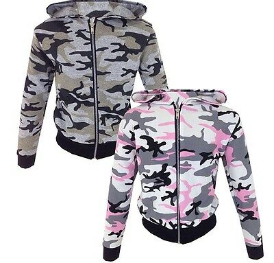 Girls Pink Grey Camo Camouflage Army Summer Jacket Coat Age 7 8 9 10 11 12 13