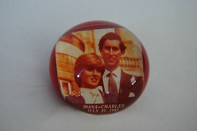 Princess Diana and  Prince Charles Anniversary Red Paperweight