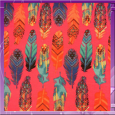 96% Poly 4% Rayon Feather Print 58 Inches Wide Fabric Sold By The Yard Fuchsia