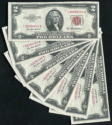 (7) Consecutive 1953-A $2 Two Dollars *star* Usn United States Notes Gem Unc