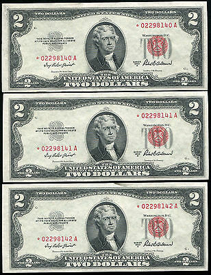 (3) Consecutive 1953-A $2 Two Dollars *star* Usn United States Notes Gem Unc