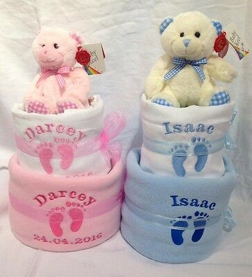 Personalised 2 tier nappy cake baby gift boy or girl baby shower