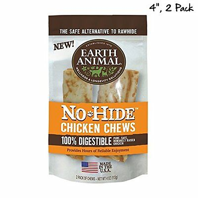 """EARTH ANIMAL DOG NO HIDE CHICKEN 4"""" 2 IN PK FREE Shipping"""