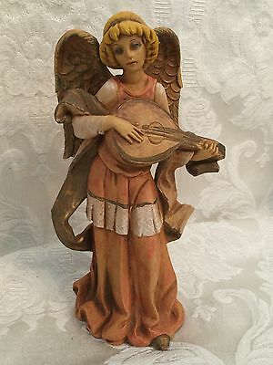 "Fontanini Angel Depose Spider Mark 525 Christmas Nativity Italy Lute 6"" Vintage"
