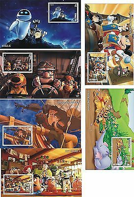 Disney Musketeers Wall-E Treasure Planet Toy Story Winnie Up 6 Souvenir Sheets