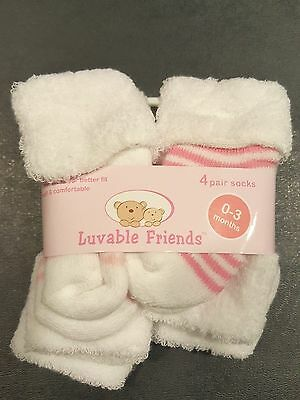 Luvable Friends 4 Pair Girl Cushion Booties Socks 0-3 Months