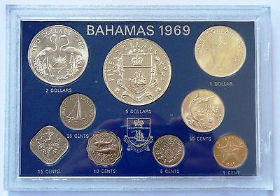 Bahamas Coin Set 1969 Silver UNC 9 Coins Elizabeth II Cents - Dollars - Rare !