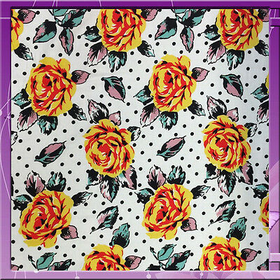 """100% Rayon Challis 30's Inspired Floral / Flower Print 58"""" Wide Sold By The Yard"""