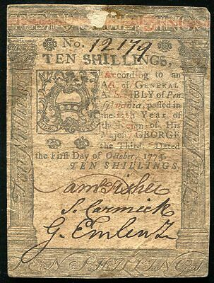 OCTOBER 1, 1773 10s TEN SHILLINGS COLONIAL CURRENCY PENNSYLVANIA