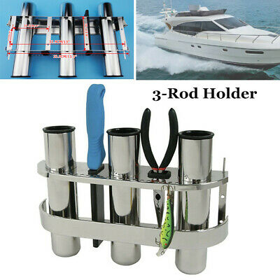 Fishing Outrigger 3 Tube Rod Holder Tackle Rack Stainless For Boat Marine