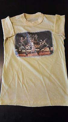 Vintage 70s 1978 Kiss Aucoin Iron-On Youth Kids Boys T-Shirt Heavy Metal Rock
