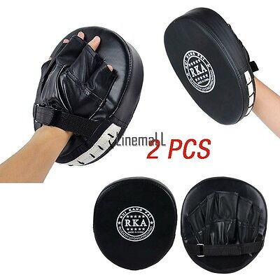 2xThai MMA Focus Kick Boxing Gym Training Mitt Hand Target Muay Glove Punch Pad!