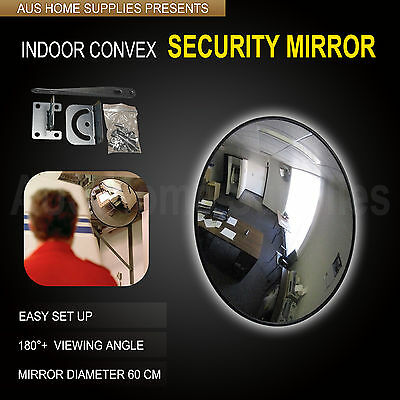 60 cm Black Indoor Convex Security Safety Mirror Unbreakable Wide Angle Shop