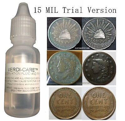 VERDI-CARE Removes Verdigris Stop Corrosion Coin Clean Conserve 15 Mil Free USA