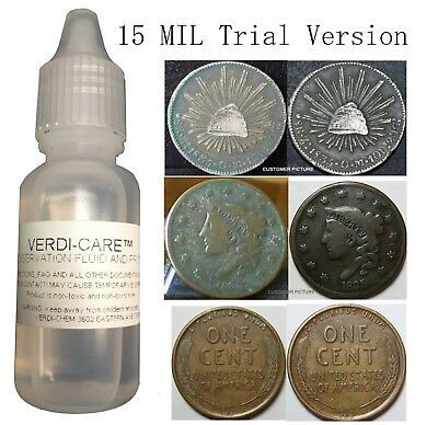 VERDI CARE Removes Verdigris Stop Corrosion Coin Clean Conserve 15 Mil Trial US