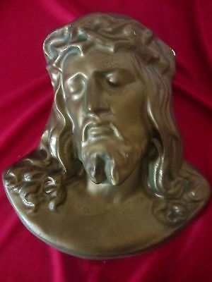 Large Vintage Plaster Head Of Crucified Jesus Christ