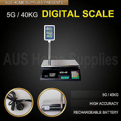 5g / 40kg Electronic Digital Scale Weight Shop domestic kitchen meat fruit vegie