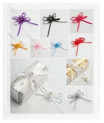 Pack of 12 Self Adhesive Satin Ribbon Bows with Diamante Flowers Craft Wedding